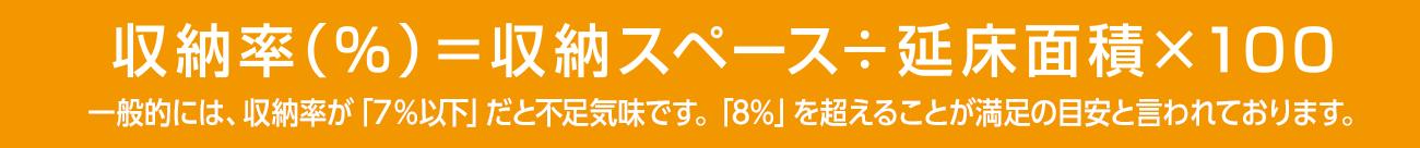 収納率(%)=収納スペース÷延床面積×100 一般的には、収納率が「7%以下」だと不足気味です。「8%」を超えることが満足の目安と言われております。